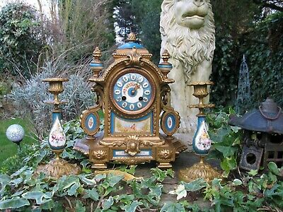 ******Superb 19thC French Ormolu Sevres Porcelain Clock with Candlesticks*******