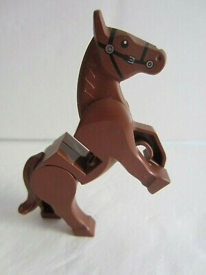 NEW LEGO Minifigure Figure BROWN HORSE with Gray Saddle and Bareback Bricks Incl