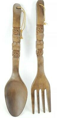 "Vintage Tiki Spoon Fork Wall Hanging Wood 22"" Long Large Farmhouse Chic Decor"