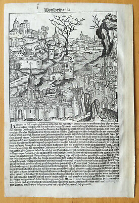 Incunable Leaf Schedel Liber Chronicorum Woodcut Spain and England 1493