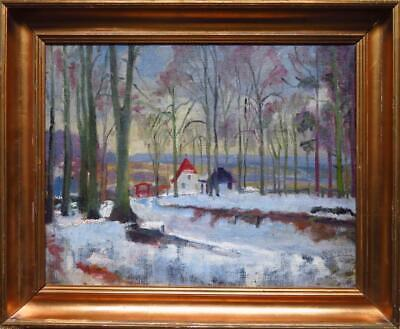 ?? JESPERSEN superb early 20th Century Danish ? signed OIL PAINTING Snow Winter