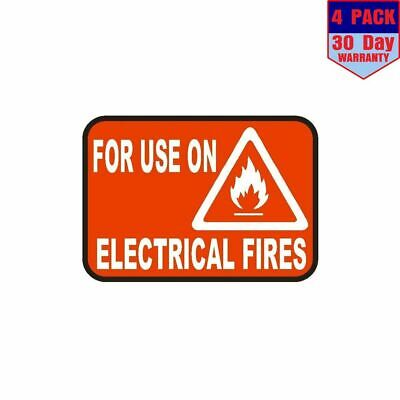 For Use On Electrical Fires Sticker Safety Decal Label D860 Fire Extinguisher