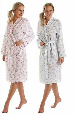 New Womens Lady Olga Poly Cotton Floral Long Sleeve Wrap Dressing Gown 67233