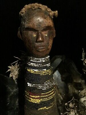 Primitive Antique African Folk Art Beaded Fertility Doll Hand Carved Wood Voodoo