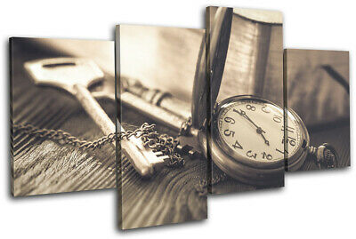 Retro Clock Keys Rustic Vintage MULTI CANVAS WALL ART Picture Print