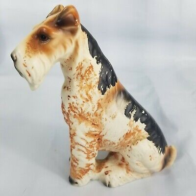"""Norleans Airedale Puppy Dog 5"""" Tall Figurine Made in Japan Sitting Vintage Breed"""