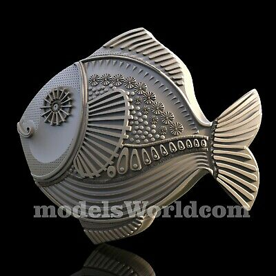 3D Model STL for CNC Router Artcam Aspire Carved Fish Scroll Panel Cut3D Vcarve