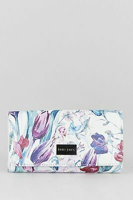 New Laura Jones Jamie Floral Large Large Womens Purse Wallet White by-Strandbags