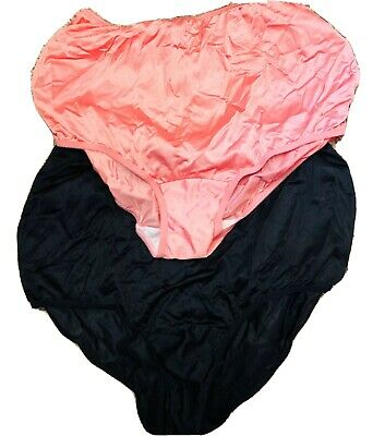 VTG Vanity Fair Size 8 2 Pair Black and Pink High Rise Briefs Nylon Silky New