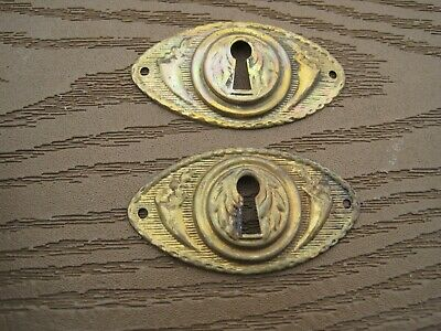 2 VIN Victorian Style Brass Ornate Design Key Hole Escutcheon Covers 2 1/2