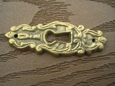 VINTAGE  Victorian Brass Ornate Design Key Hole Escutcheon Cover 2 X 7//8