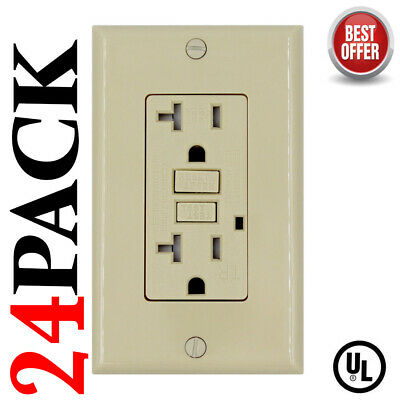 20A GFCI Receptacle Outlet Tamper Resistant IVORY  UL Listed GFI -(24Pack)