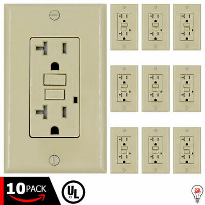 20 A GFCI (GFI) Receptacle Outlet -TAMPER RESISTANT BRAND NEW IVORY (10PACK)