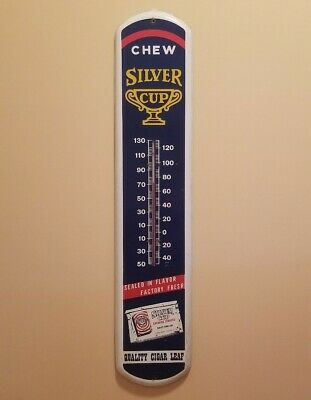 """Rare Silver Cup Thermometer Chew Tobacco Vintage Advertising 39"""" x 8"""""""