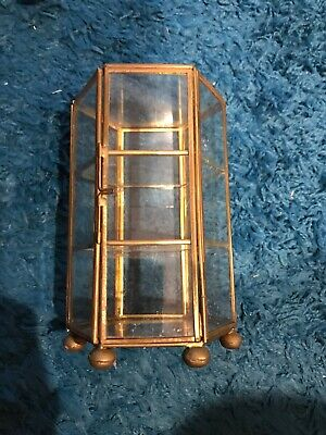 Vintage Hexagonal Brass & Glass Collectible Keepsake 3 Tiered Display Box 6""