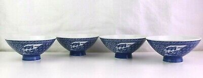 Vintage Japanese Footed Blue & White Rice Bowls Set of 4 Japan Signed