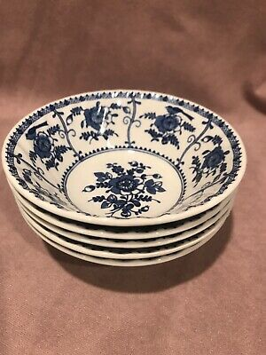 """Set of 5 Johnson Brothers Indies Bowls 5 3/4"""" Blue White Made in England Exc"""