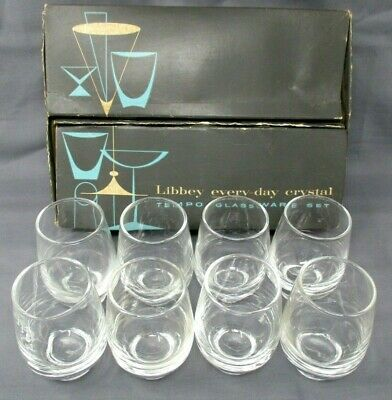 Libbey Tempo Crystal Glassware Juice Glasses Set of 8 with Box 6 oz roly poly