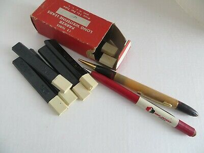 7 Vintage Parker Writefine Pencil Leads Refills Cases F-B-H-Hard & two pencils