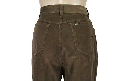 LEE Women's Size 14 Brown Straight Tapered Leg High Waist Corduroy Pants Jeans