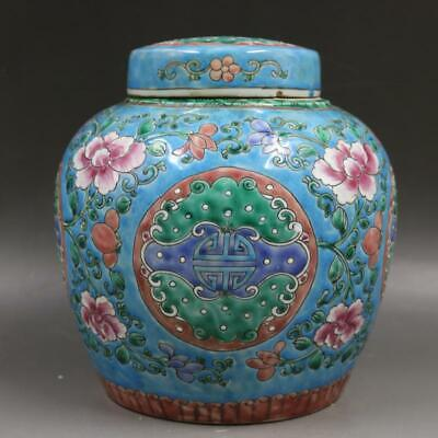 An Estate Old Chinese Antique Qing Famille Rose Porcelain Flowers Plants Teapot