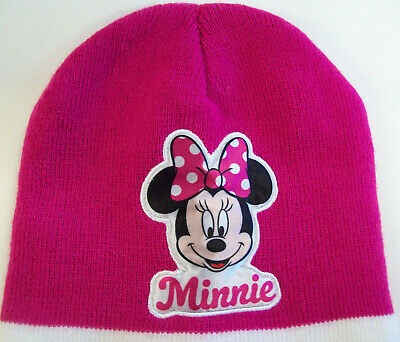 NWT Disney Minnie Mouse Knit Beanie Hat Cap Pink Striped Winter Girls One Size