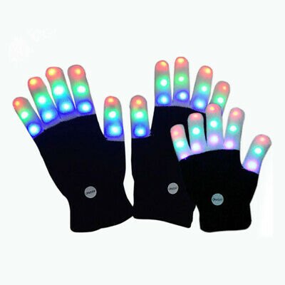 Halloween LED Flashing Finger Light Up Colorful Lighting Gloves Rave Party Prop