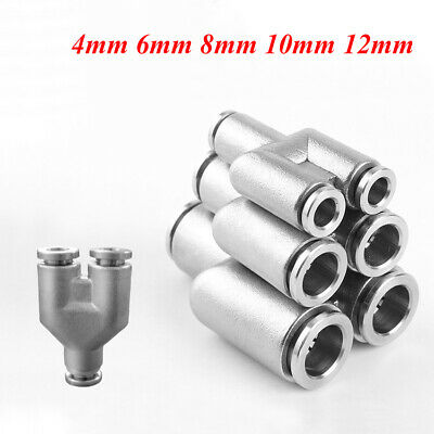 Stainless Steel Wye Tee Pneumatic Hose Connector Fittings Push to Connect 4-12mm