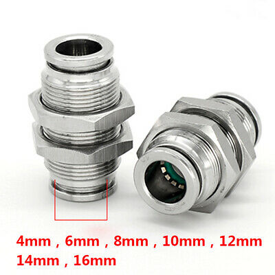 Stainless Steel Pneumatic Hose Bulkhead Union Fittings Push to Connect 4mm-16mm