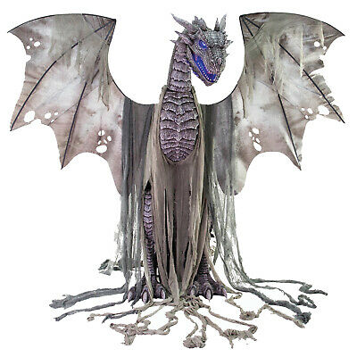 Life Size 7ft Winter Dragon Animated Moving Light Up Halloween Prop Decoration