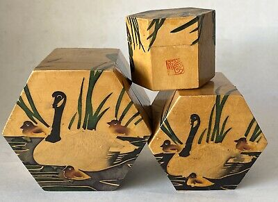 Antique Signed Chinese Wooden Hand Painted Nesting Boxes