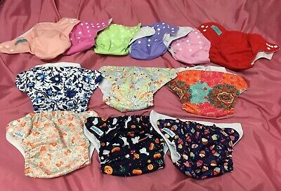 Mama Koala ALVA Lot Of 12 Reusable Adjustable Cloth Pocket Diapers Excellent LN