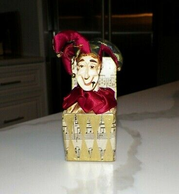 Katherine's Collection Jester In A Box Ornament Musical Notes Burgundy & Green