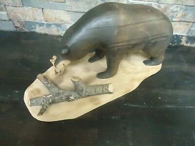 Vintage Black Bear Fishing Wood Carving-Grizzly-Hard Carved-Forest