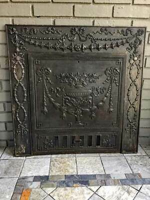 ANTIQUE Iron FIREPLACE COVER & FRAME *ORNATE*  Sharp & Son 1895