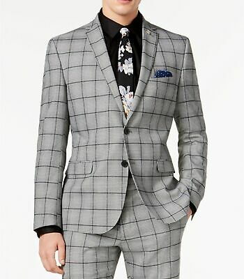 $595 Nick Graham Men's Gray Plaid Crepe Slim Fit Suit Coat Jacket Size 46R W39