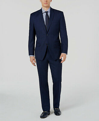 $810 Marc New York 40L Men's Blue Modern Fit 2 Piece Suit Birdseye Jacket Pants