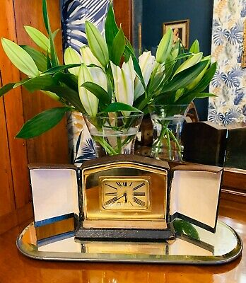 1920's Art Deco French brass cased travelling clock and original Shagreen case