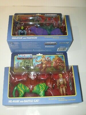 Masters of the Universe ReAction BATTLE CAT & PANTHOR Figure Lot He-Man Super7