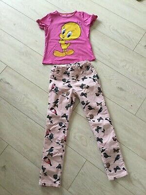 M&S Girls Pink Tweety T-Shirt And H&M Soft Pink Birds Cords Trousers Age 7-8 Fab