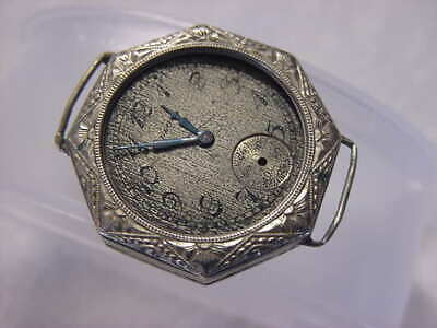 Vintage 14K GOLD FD antique pre 1920 Art Deco Ldy ELGIN OCTAGONAL ENGRAVED watch