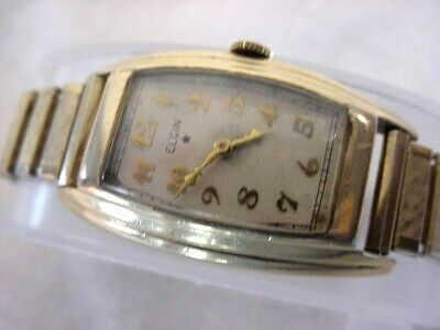 Vintage GOLD FD large & long antique Art Deco ELGIN CURVEX mens watch