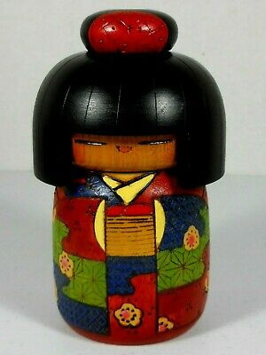 "Vintage Kokeshi Colorful Japanese Wood Toy Doll by Kazuo Takamizawa 5-3/4"" Tall"