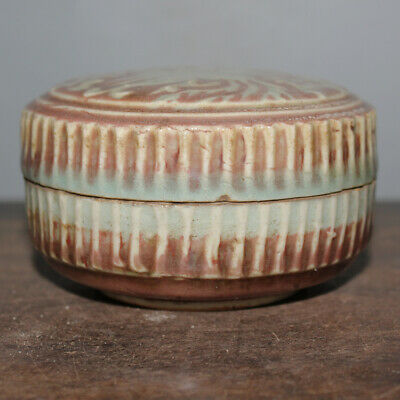 Chinese Old Underglaze Red Carved Phoenix Pattern Porcelain Inkpad Box
