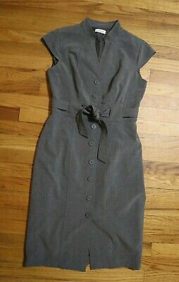 Calvin Klein - Women's Gray Sheath Dress - Career - Business - Belted - Size 6