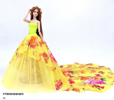 New Barbie doll clothes outfit princess wedding dress gown orange/yellow