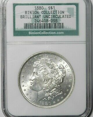 1880 Morgan Silver Dollar * NGC * Brilliant Uncirculated * BINION Collection *