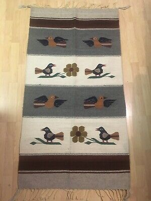 Vtg Handwoven Reversible Fringed Wall Hanging Rug Birds Made In Mexico 56x29.5