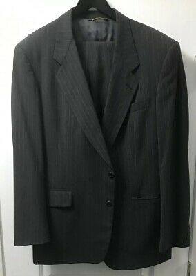 Hart Schaffner Marx Gold Trumpeter Mens Suit 42L Charcoal Red Pinstripe 36x34
