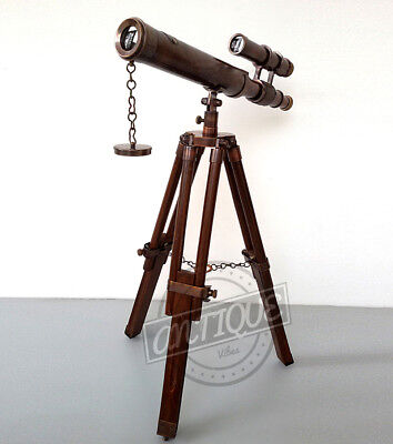 Valentine Handmade Antique / Telescope with Tripod Stand / 15X Magnification